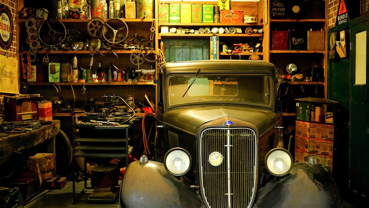 garage full of clutter
